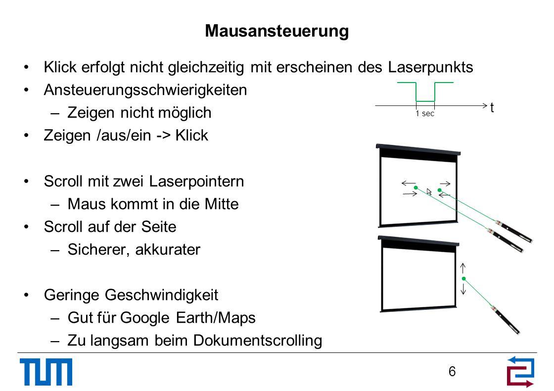 Mausansteuerung Klick erfolgt nicht gleichzeitig mit erscheinen des Laserpunkts. Ansteuerungsschwierigkeiten.