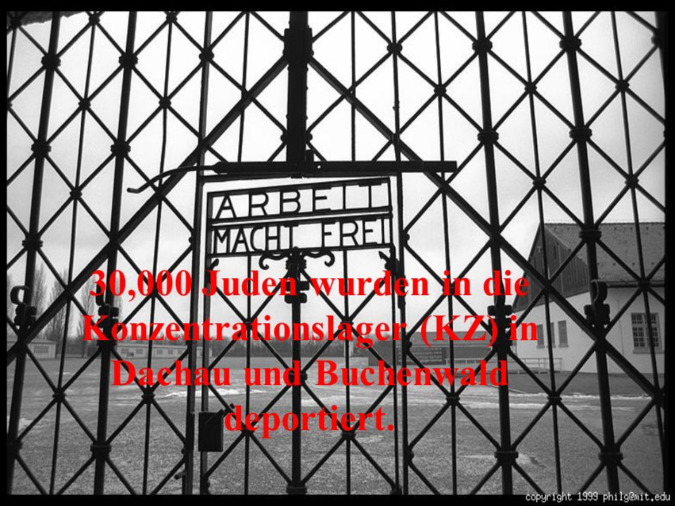 30,000 Juden wurden in die Konzentrationslager (KZ) in Dachau und Buchenwald deportiert.