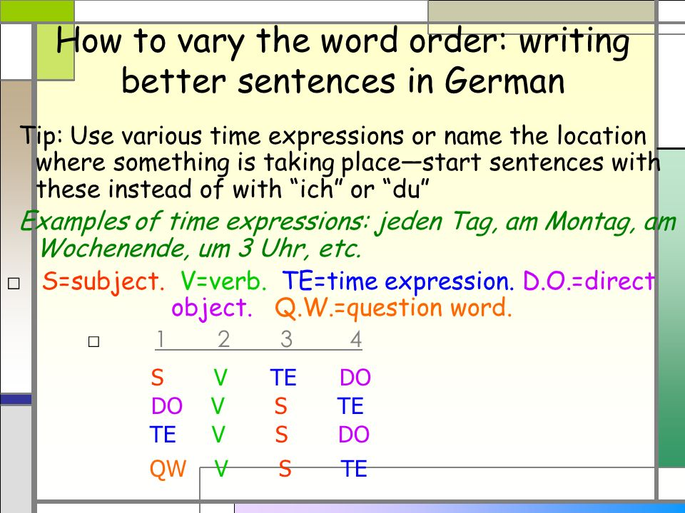 How to vary the word order: writing better sentences in German