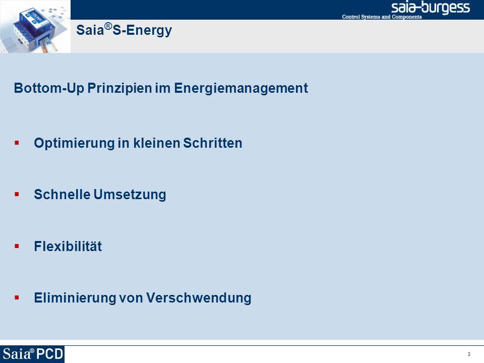 Saia®S-Energy Bottom-Up Prinzipien im Energiemanagement. Optimierung in kleinen Schritten. Schnelle Umsetzung.