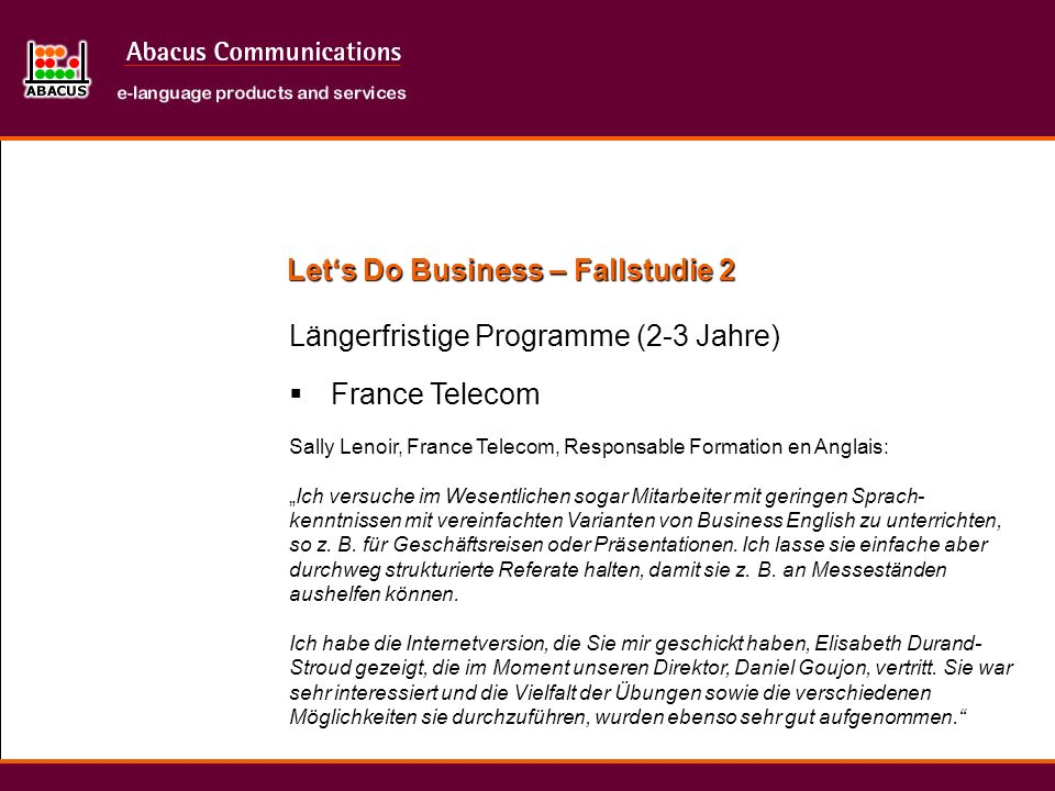 Let's Do Business – Fallstudie 2