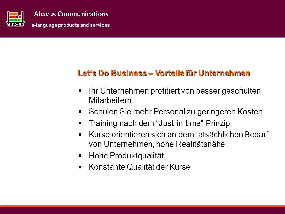 Let's Do Business – Vorteile für Unternehmen