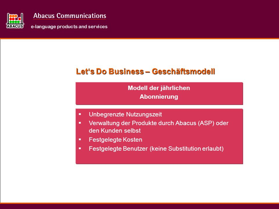 Let's Do Business – Geschäftsmodell