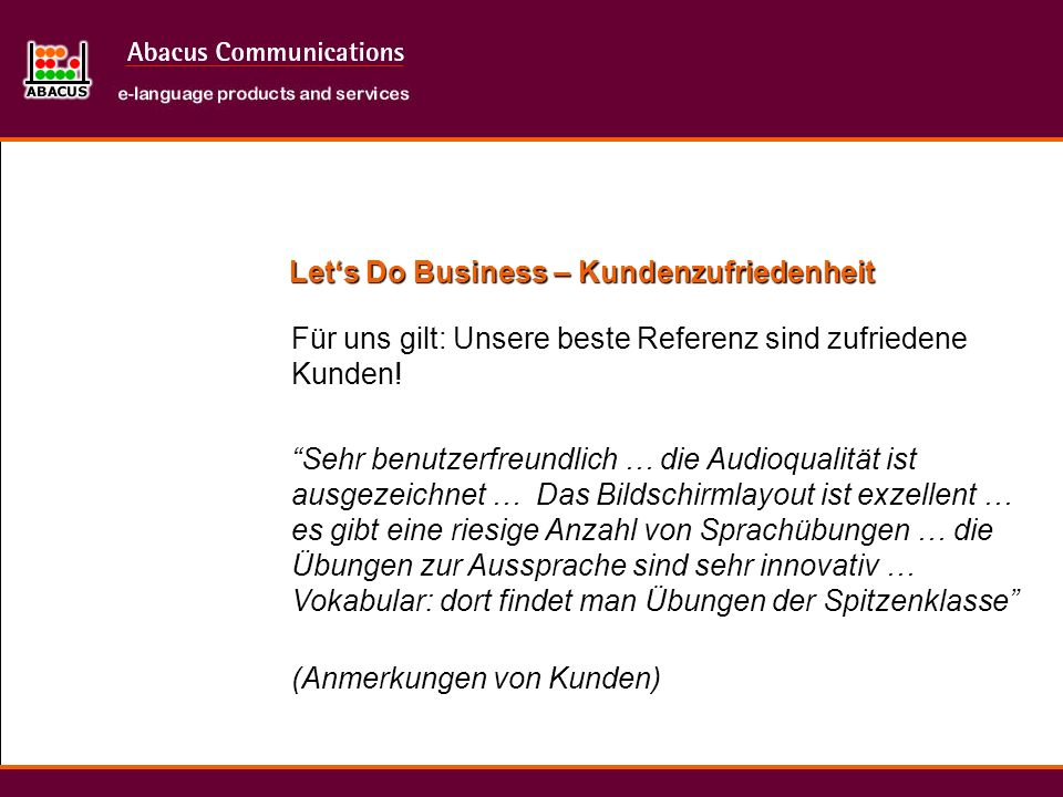 Let's Do Business – Kundenzufriedenheit