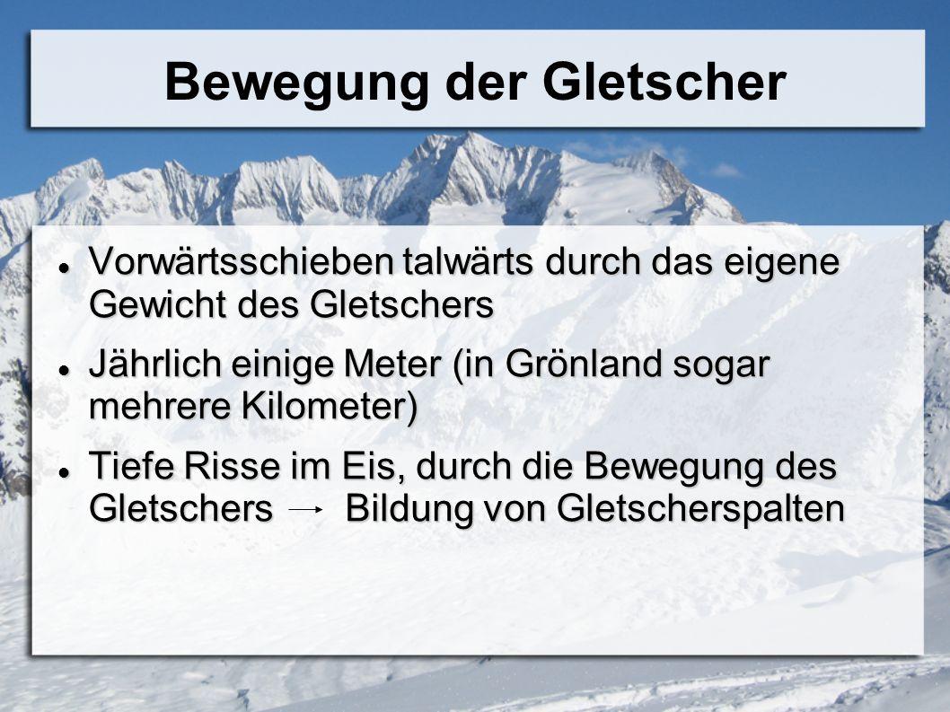Bewegung der Gletscher