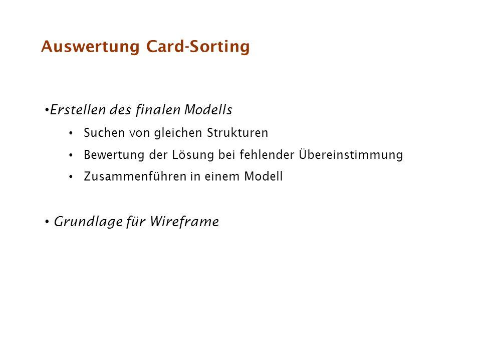 Auswertung Card-Sorting
