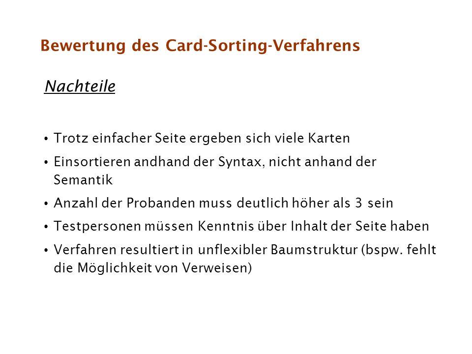 Bewertung des Card-Sorting-Verfahrens