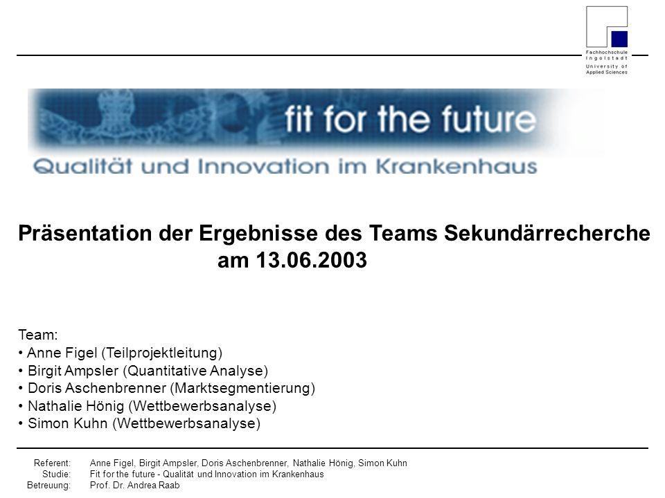 Präsentation der Ergebnisse des Teams Sekundärrecherche am 13.06.2003