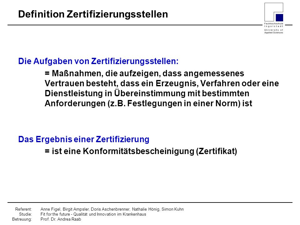Definition Zertifizierungsstellen