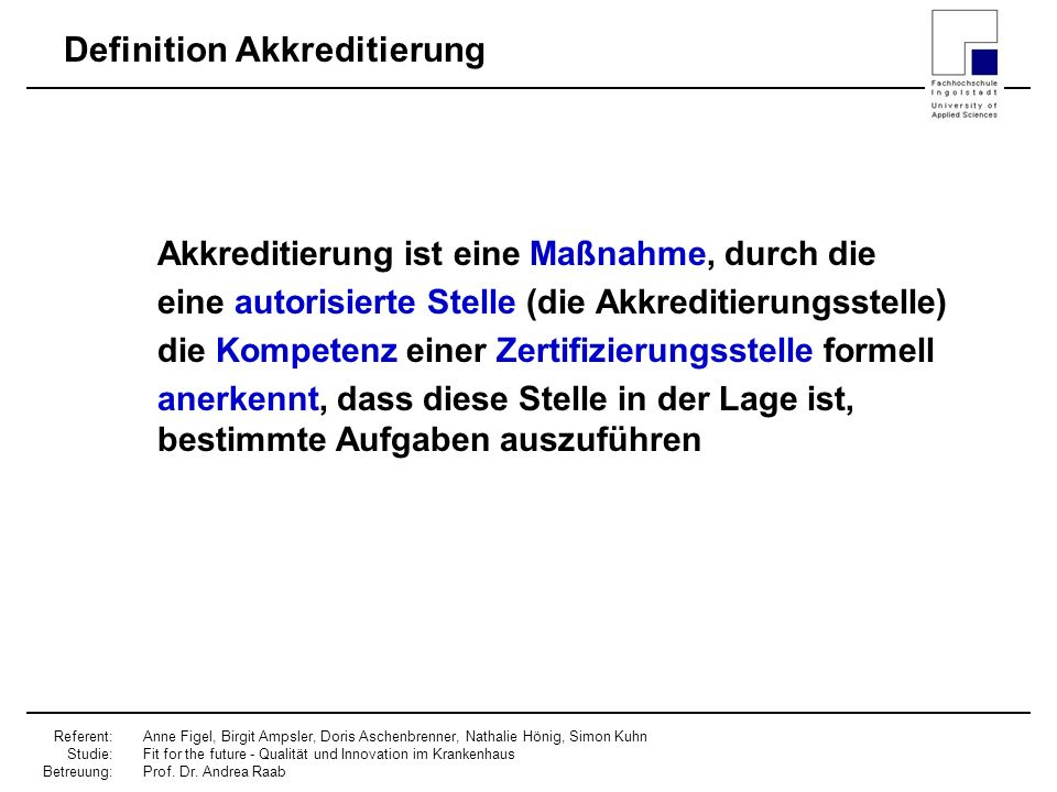 Definition Akkreditierung