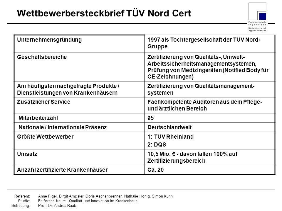 Wettbewerbersteckbrief TÜV Nord Cert