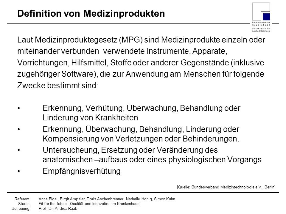Definition von Medizinprodukten