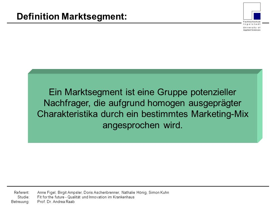 Definition Marktsegment: