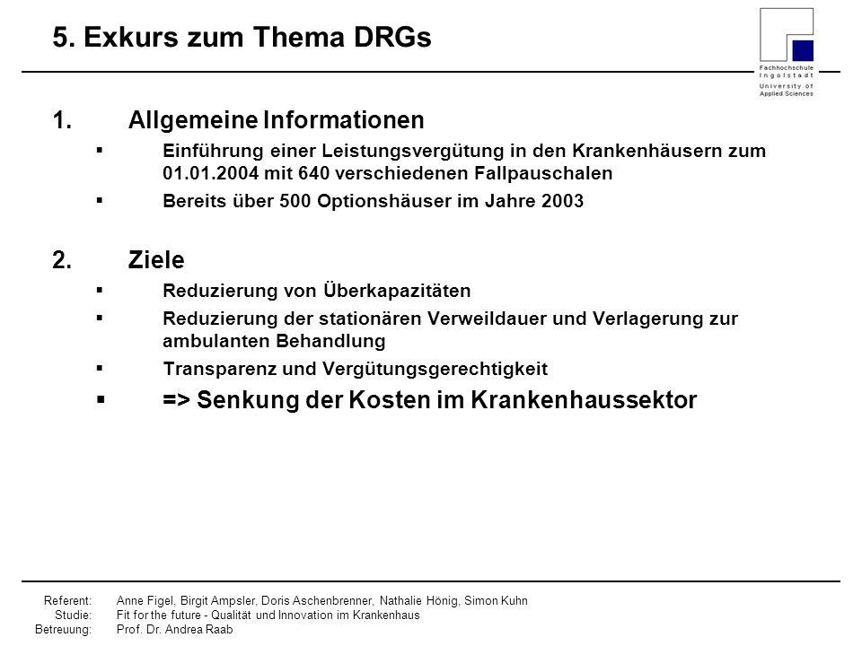5. Exkurs zum Thema DRGs Allgemeine Informationen Ziele
