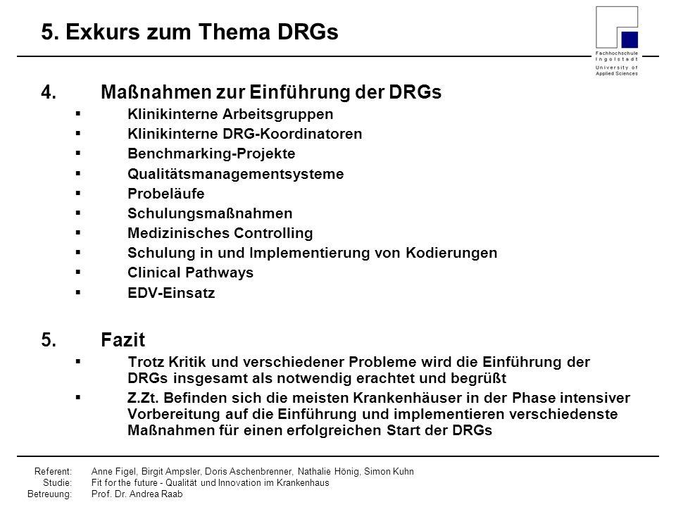 5. Exkurs zum Thema DRGs Maßnahmen zur Einführung der DRGs Fazit