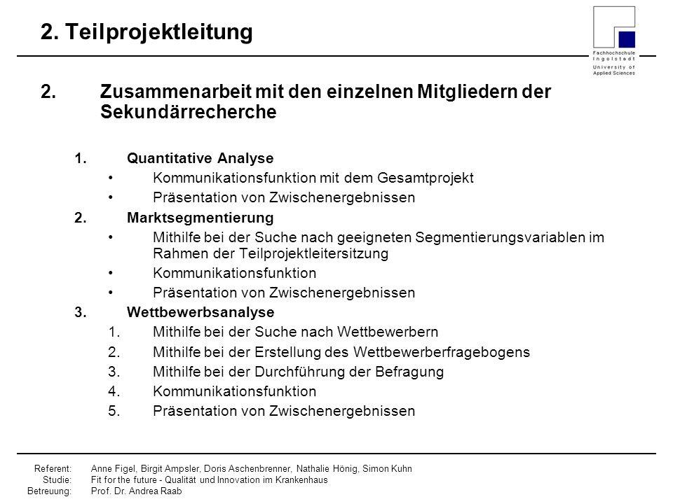 2. Teilprojektleitung Zusammenarbeit mit den einzelnen Mitgliedern der Sekundärrecherche. Quantitative Analyse.
