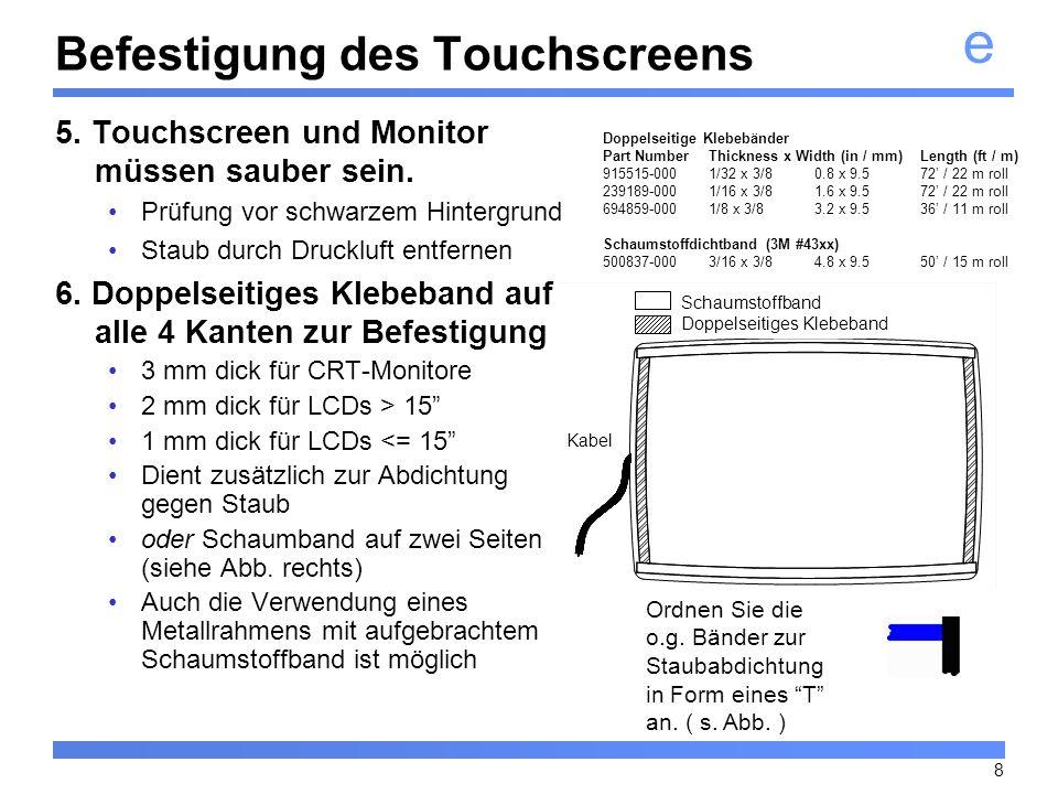 Befestigung des Touchscreens