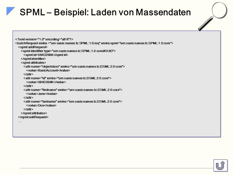 SPML – Beispiel: Laden von Massendaten