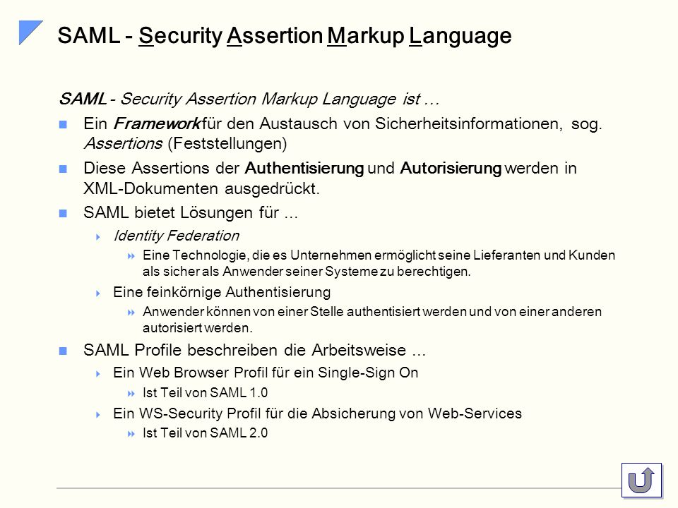 SAML - Security Assertion Markup Language