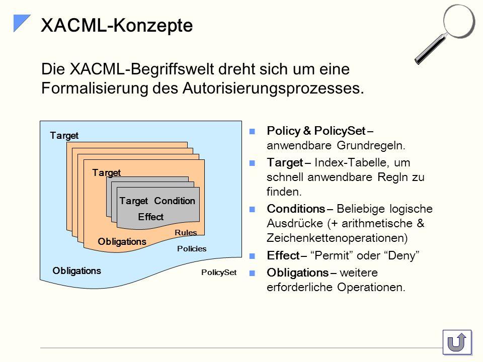 XACML-Konzepte Die XACML-Begriffswelt dreht sich um eine Formalisierung des Autorisierungsprozesses.