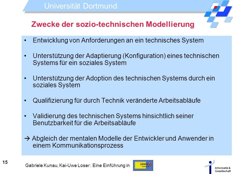 Zwecke der sozio-technischen Modellierung