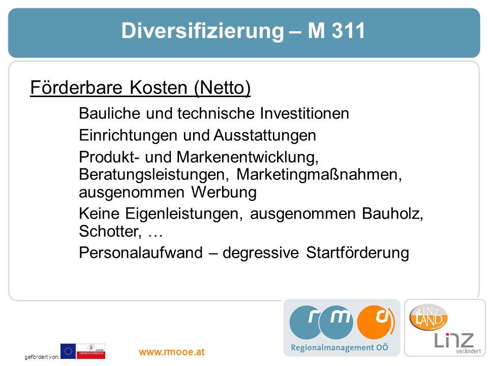 Diversifizierung – M 311 Förderbare Kosten (Netto)
