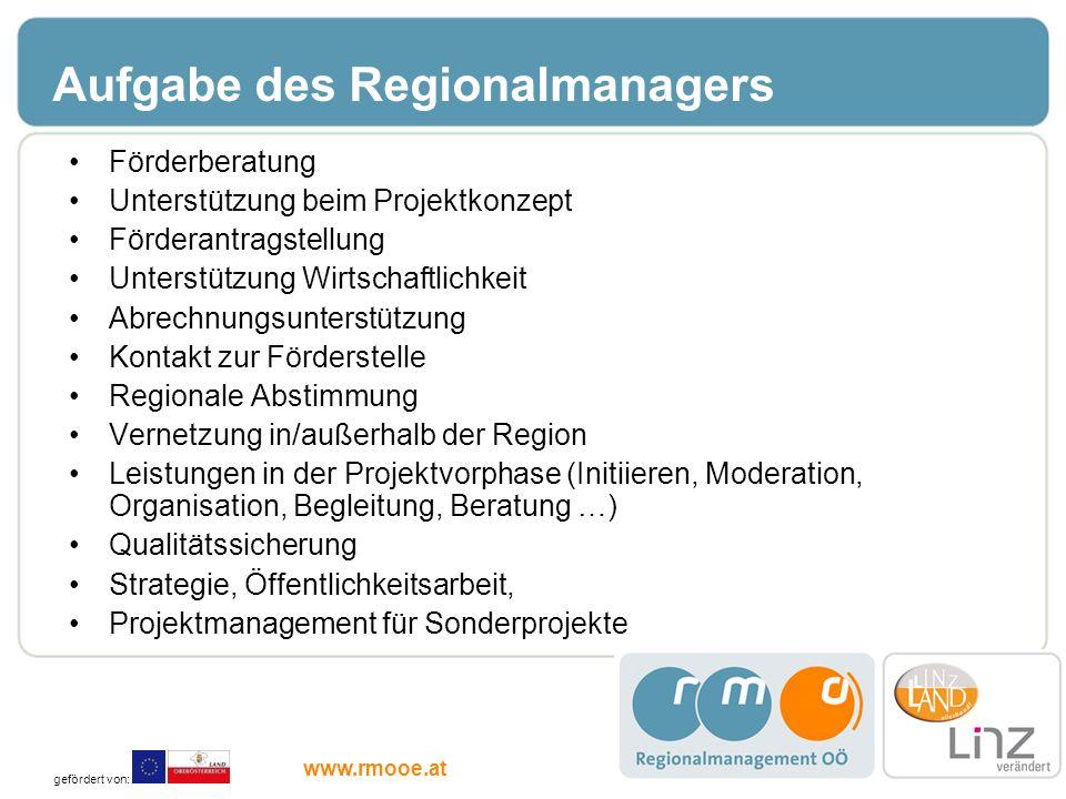 Aufgabe des Regionalmanagers