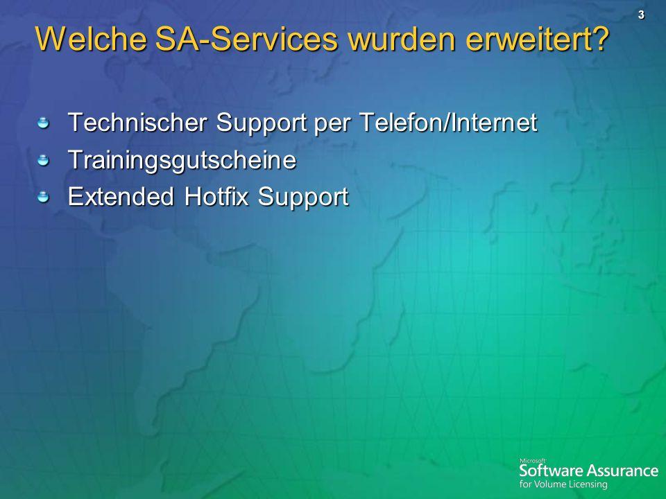 Welche SA-Services wurden erweitert