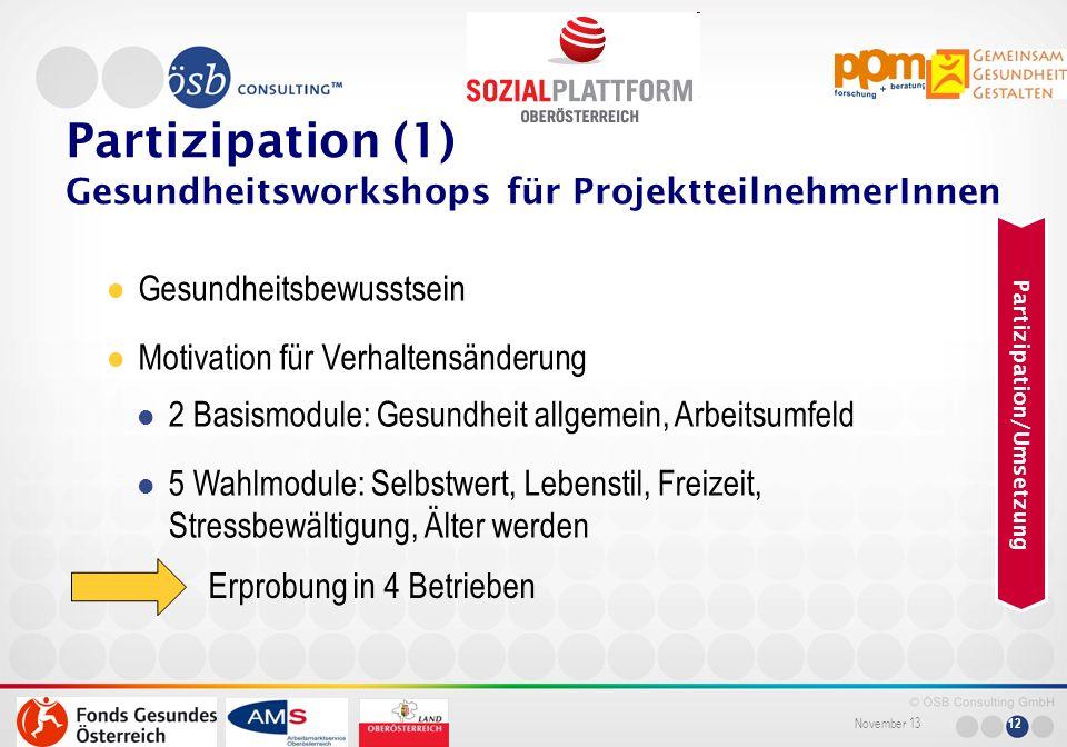 Partizipation (1) Gesundheitsworkshops für ProjektteilnehmerInnen
