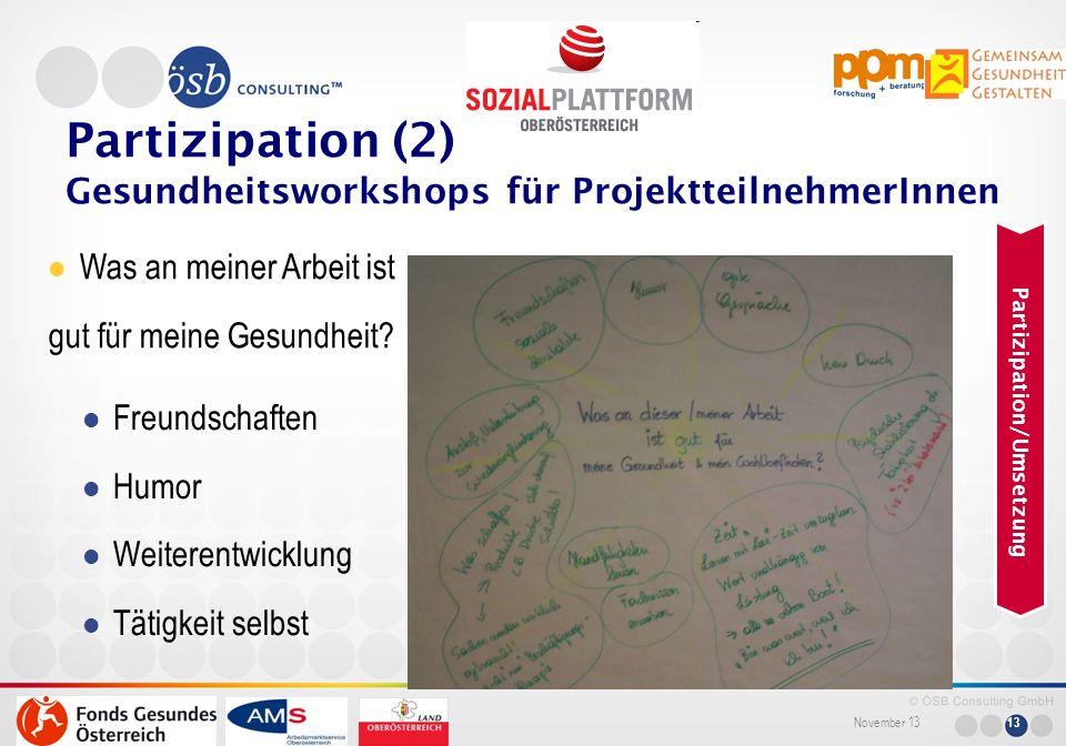 Partizipation (2) Gesundheitsworkshops für ProjektteilnehmerInnen