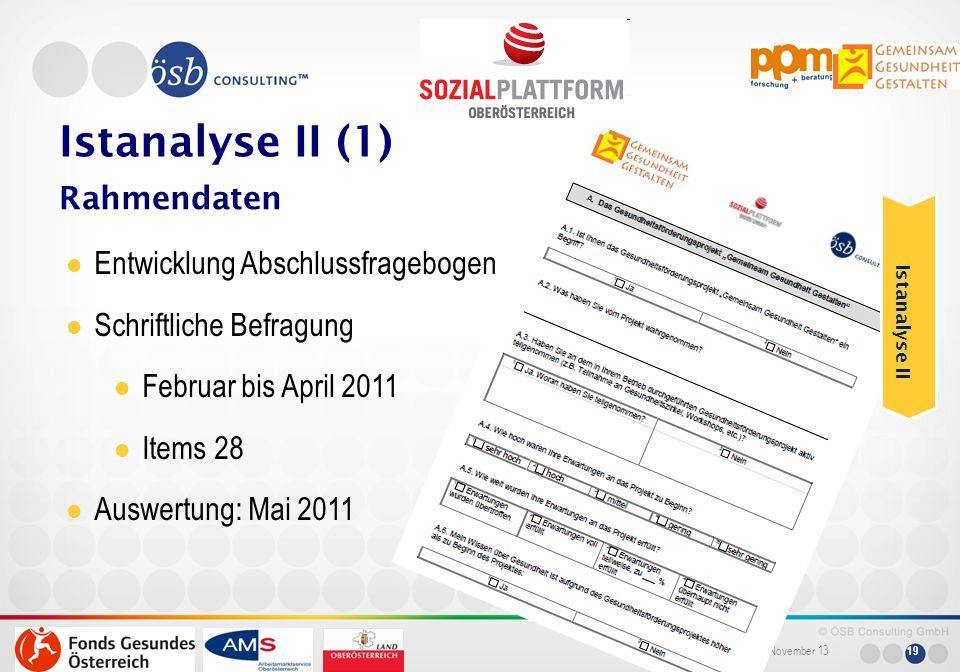 Istanalyse II (1) Rahmendaten Entwicklung Abschlussfragebogen