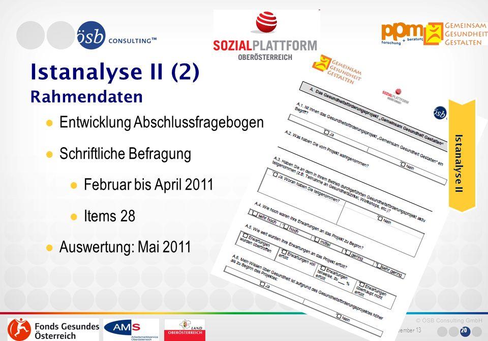 Istanalyse II (2) Rahmendaten Entwicklung Abschlussfragebogen