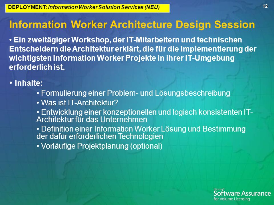 Information Worker Architecture Design Session