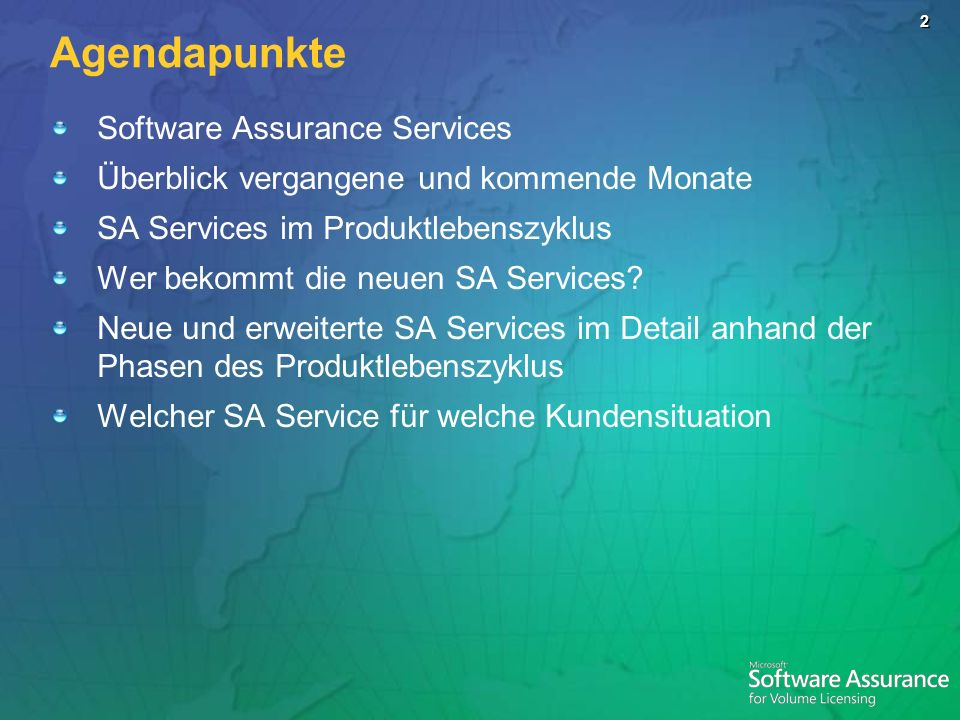 Agendapunkte Software Assurance Services