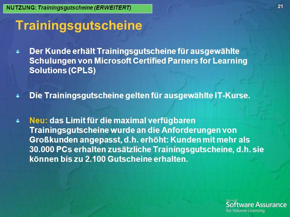 NUTZUNG: Trainingsgutscheine (ERWEITERT)