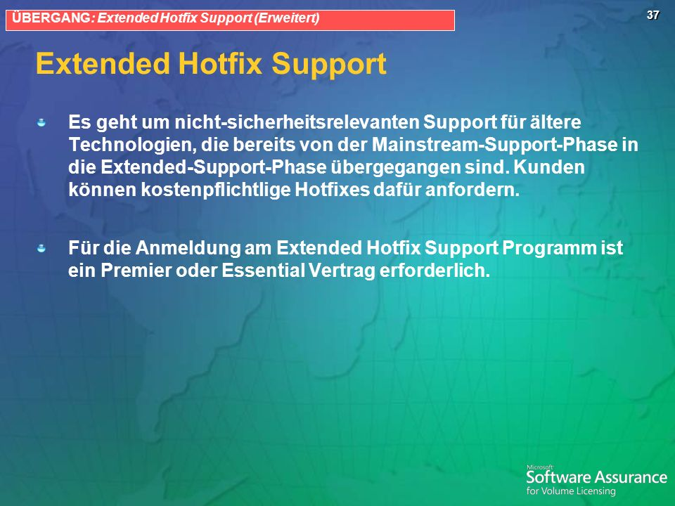 Extended Hotfix Support