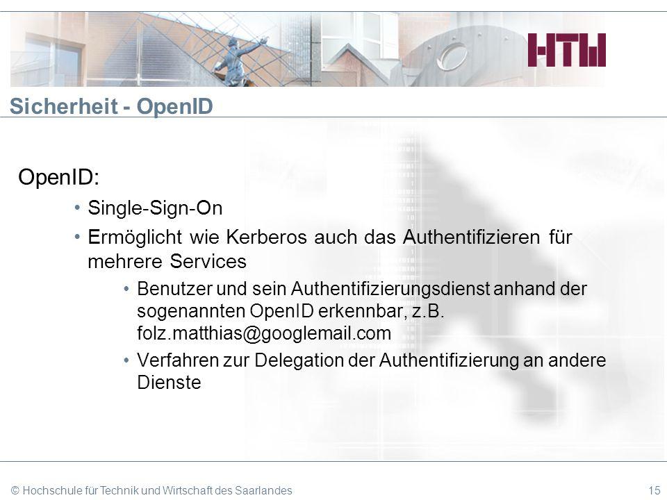 Sicherheit - OpenID OpenID: Single-Sign-On