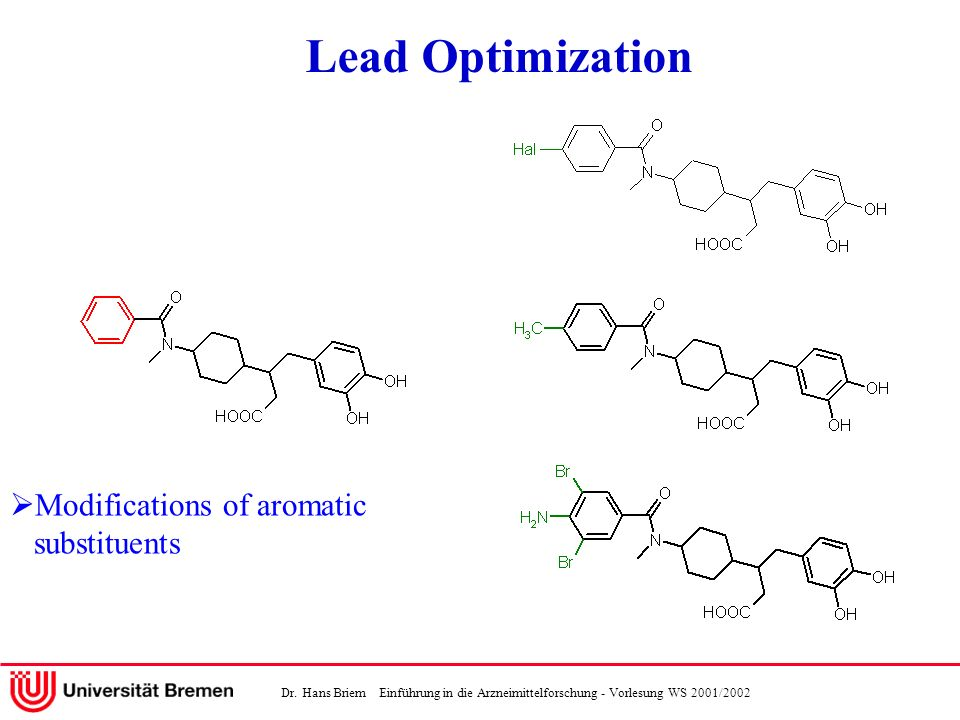 Lead Optimization Modifications of aromatic substituents