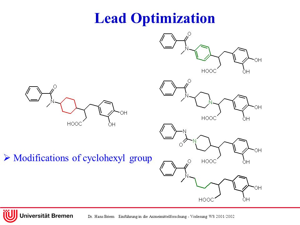 Lead Optimization  Modifications of cyclohexyl group