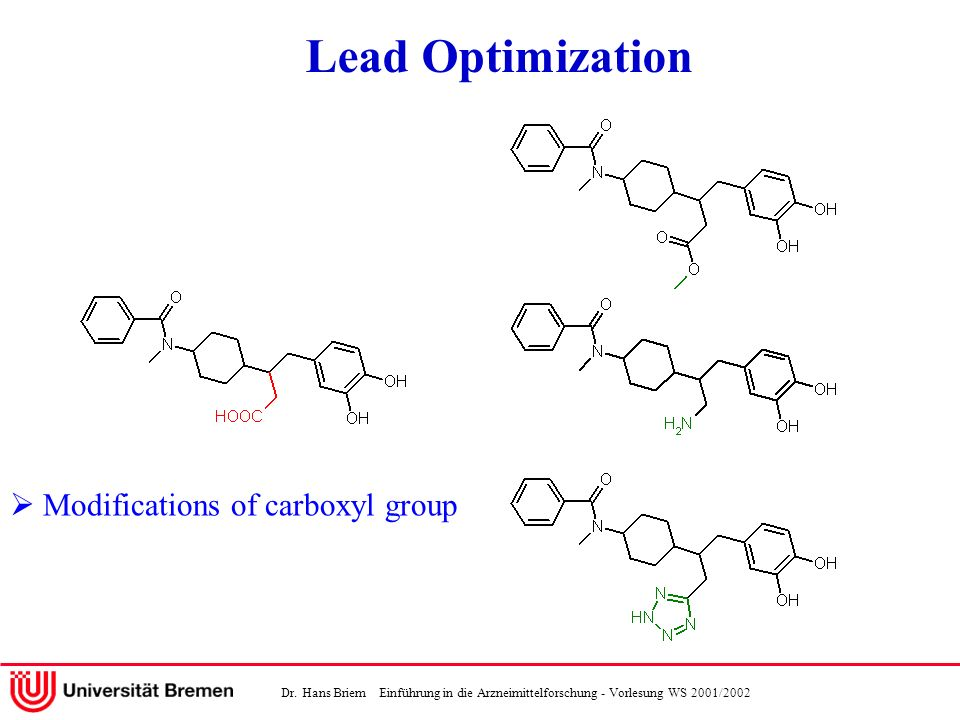 Lead Optimization  Modifications of carboxyl group
