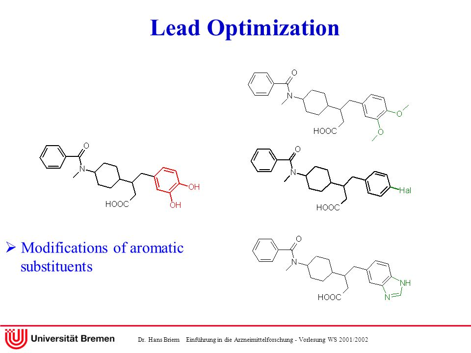 Lead Optimization  Modifications of aromatic substituents