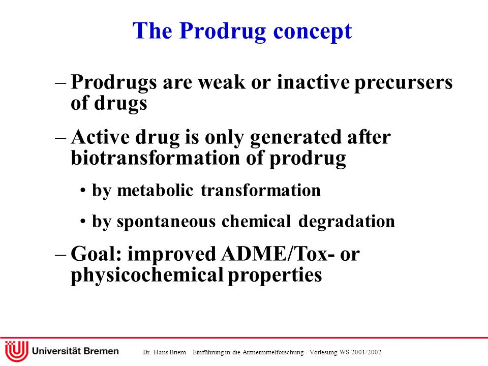 The Prodrug concept Prodrugs are weak or inactive precursers of drugs