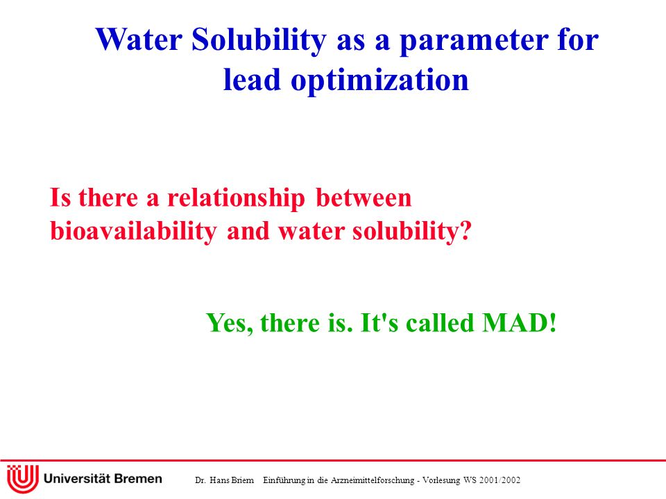 Water Solubility as a parameter for lead optimization