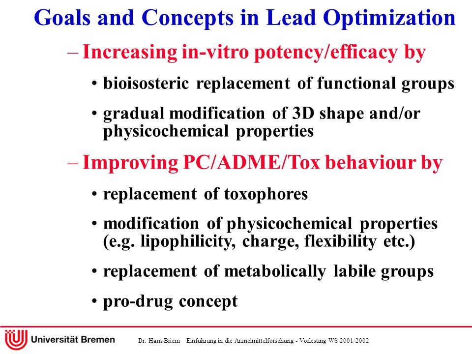 Goals and Concepts in Lead Optimization