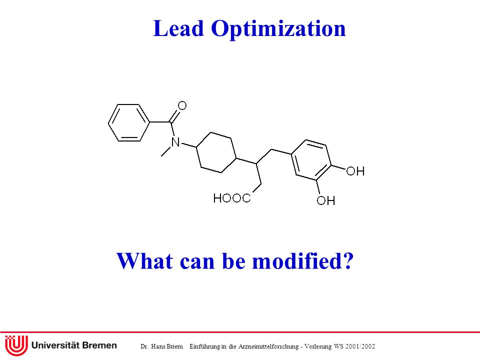 Lead Optimization What can be modified