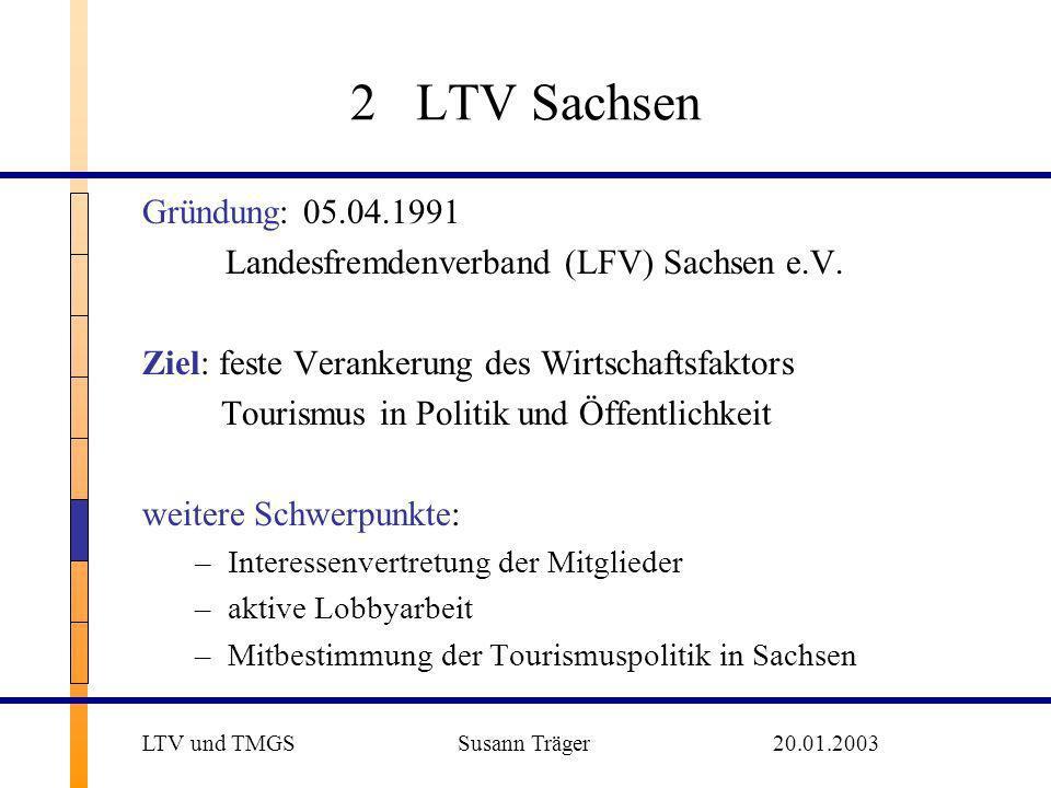 2 LTV SachsenGründung: 05.04.1991. Landesfremdenverband (LFV) Sachsen e.V. Ziel: feste Verankerung des Wirtschaftsfaktors.