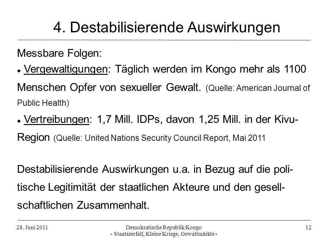 4. Destabilisierende Auswirkungen