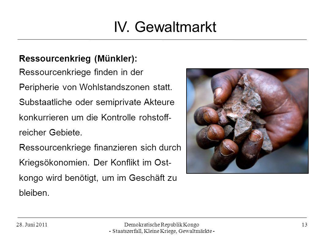 IV. Gewaltmarkt Ressourcenkrieg (Münkler):