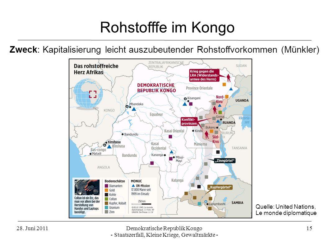 Rohstofffe im Kongo Zweck: Kapitalisierung leicht auszubeutender Rohstoffvorkommen (Münkler) Quelle: United Nations, Le monde diplomatique.