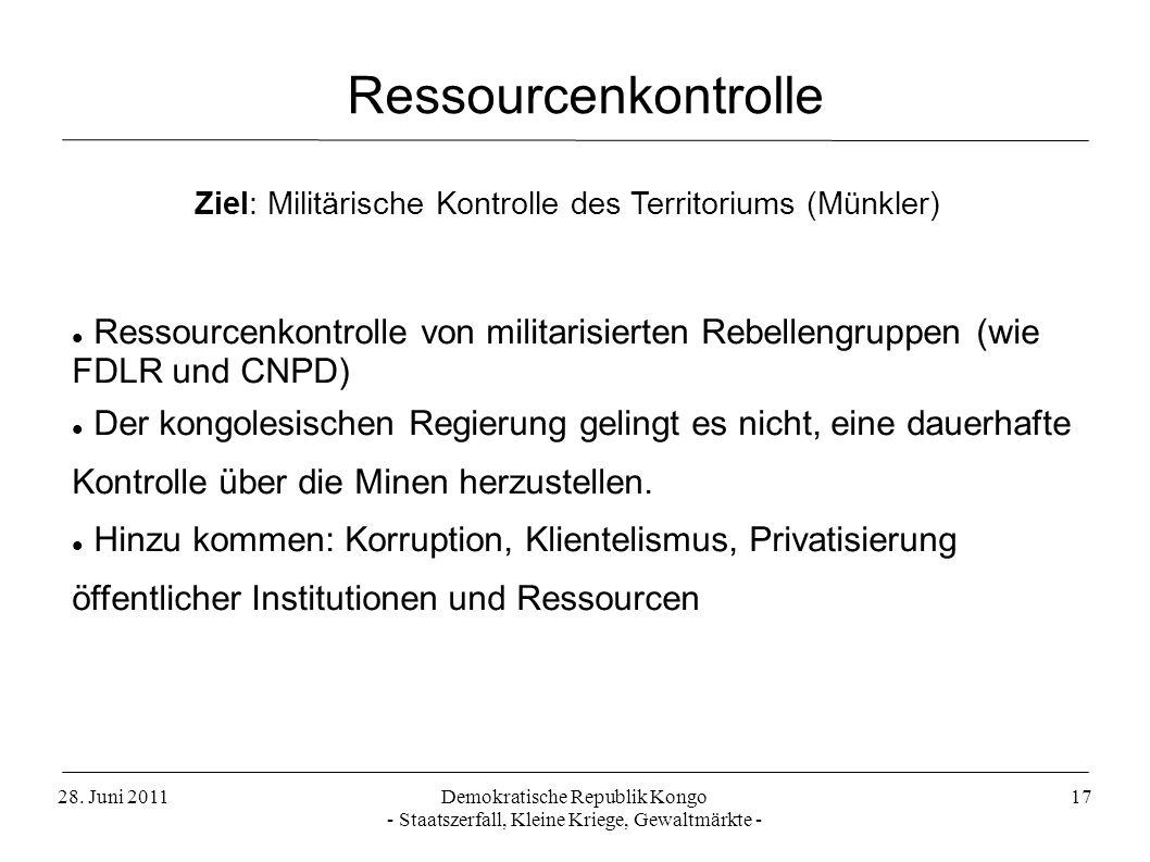 Ressourcenkontrolle Ziel: Militärische Kontrolle des Territoriums (Münkler)